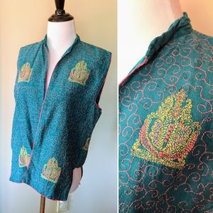 Vintage ethnic silk embroidery turquoise open vest